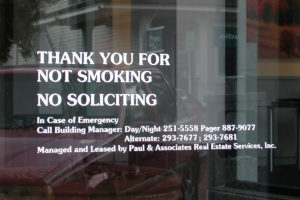 Vinyl Graphics_No Smoking_No Soliciting_Entry Graphics_TampaFL