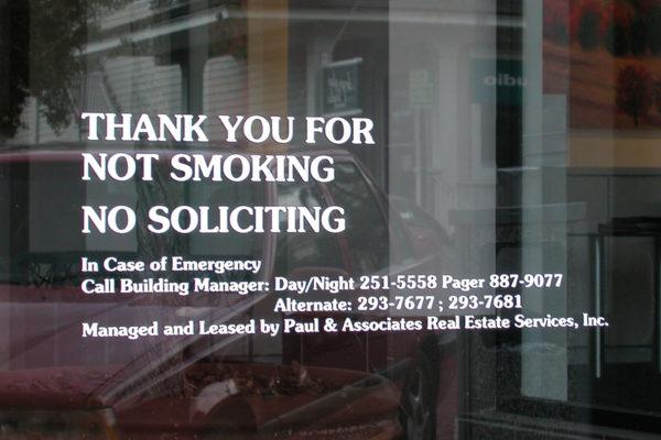 Vinyl Graphics_No Smoking_No Soliciting_Entry Graphics_TampaFL